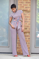 Crop Stripe Ribbed Set