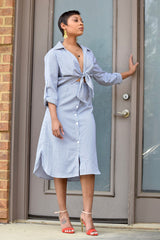 Pinstripe Tie Front Shirtdress