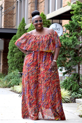 Curvy Abstract Off Shoulder Maxi Dress