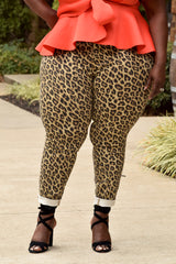 Plus Size Animal Print Skinny Jeans