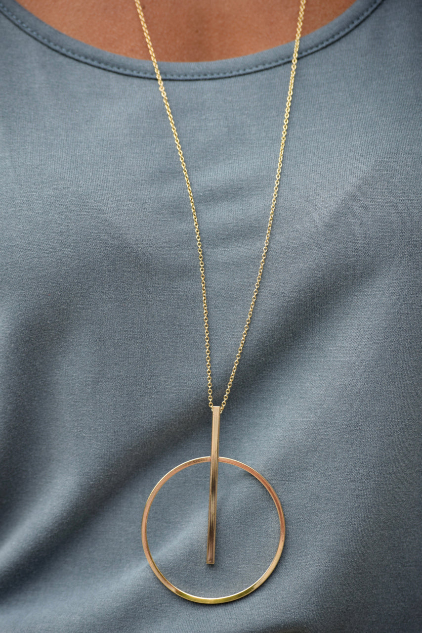 Gold Circle and Bar Necklace