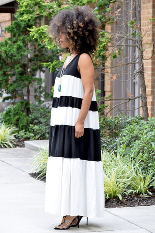 Wide Stripe Tent Dress