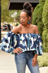 Leaf Print Off the Shoulder Crop Top