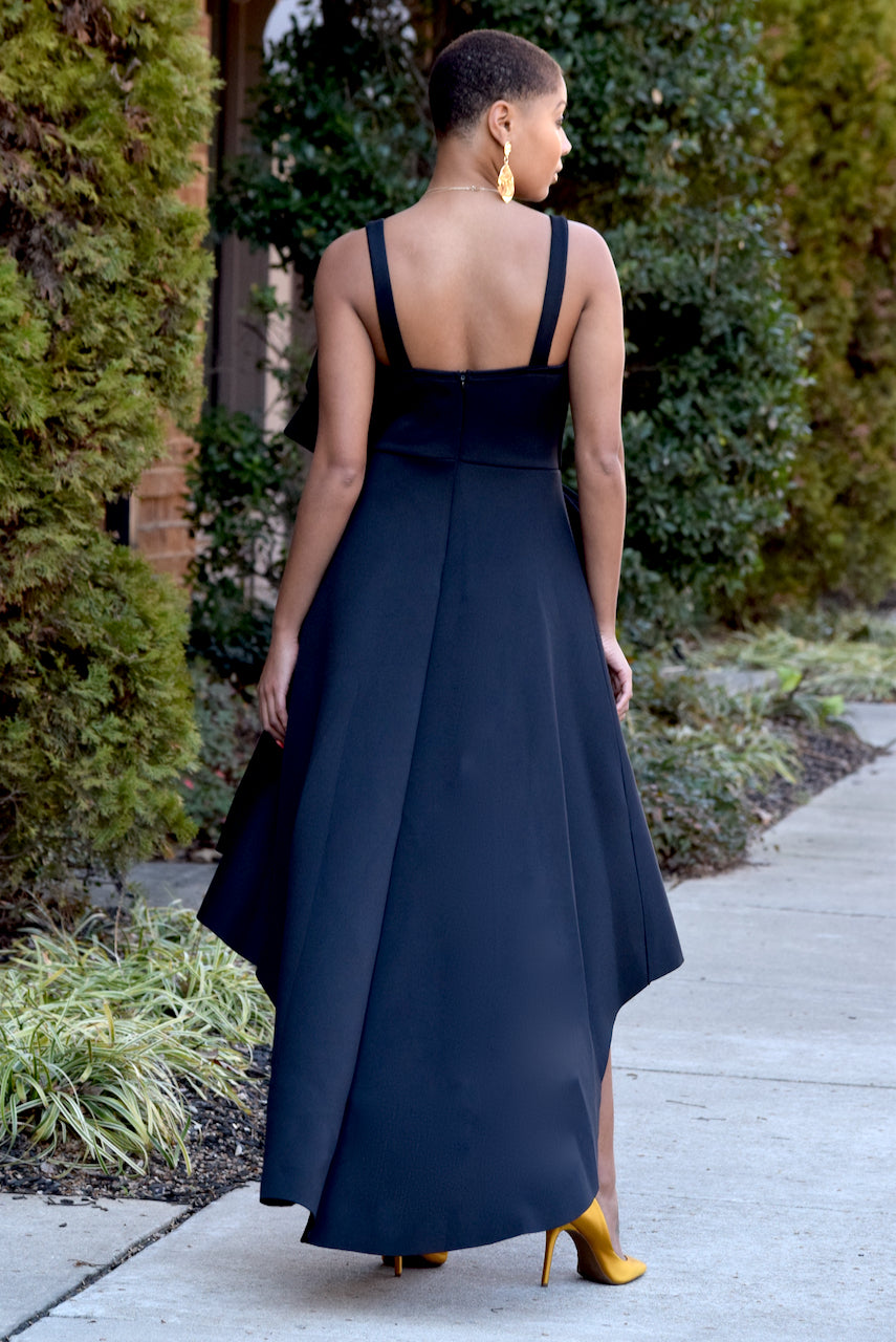 Black Bow Hi Low Dress