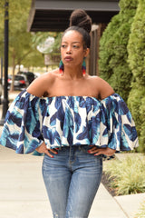 Blue Leaf Print Off the Shoulder Crop Shirt