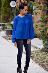 Grommet Lace Up Blouse