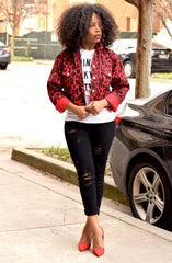 Red Cropped Leopard Jacket