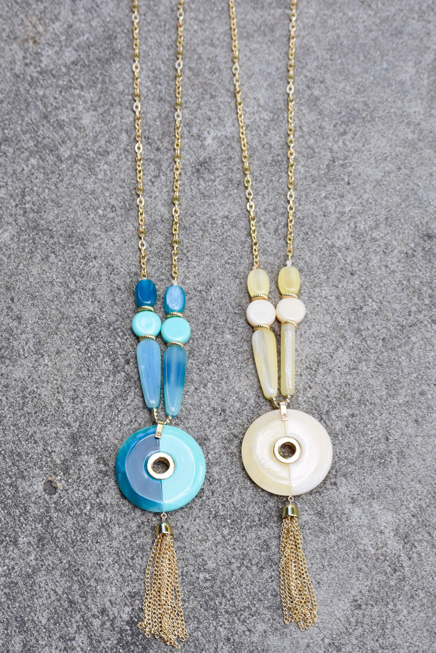Disc Bead Tassel Necklace