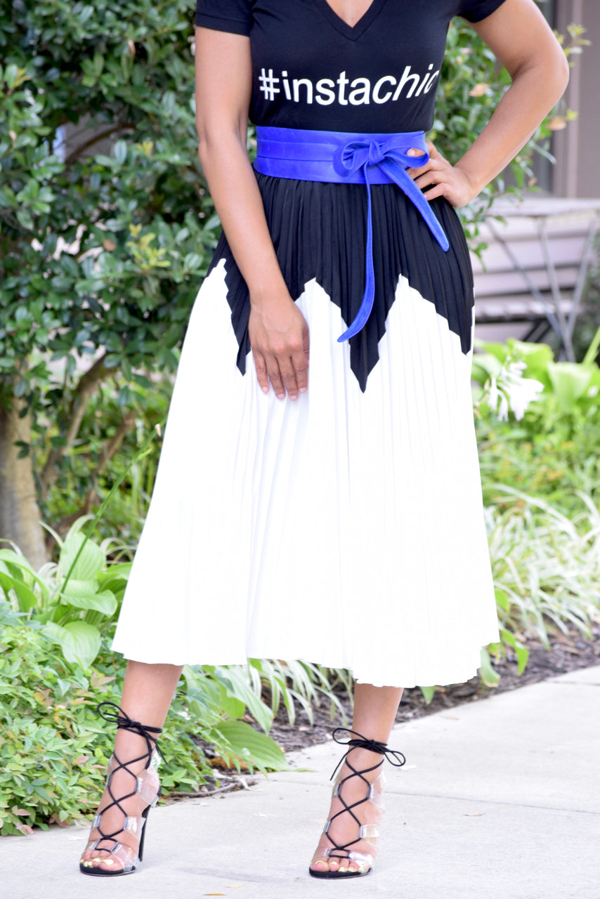Zig Zag Colorblock Pleat Skirt (S-2XL)