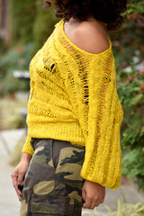Open Knit Crop Sweater