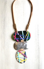 Abstract Stripe Oval Necklace