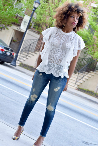 Lace Ruffle Top