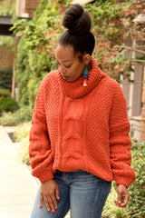 Orange Cable Knit Turtleneck Sweater