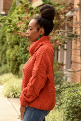Orange Chenille Cowl Sweater