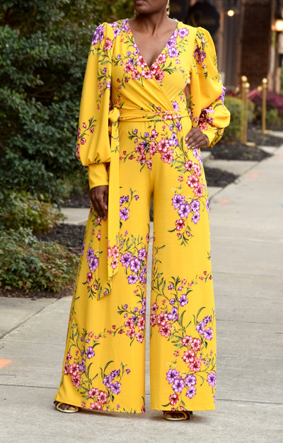 Floral Faux Wrap Belted Wide Leg Jumpsuit