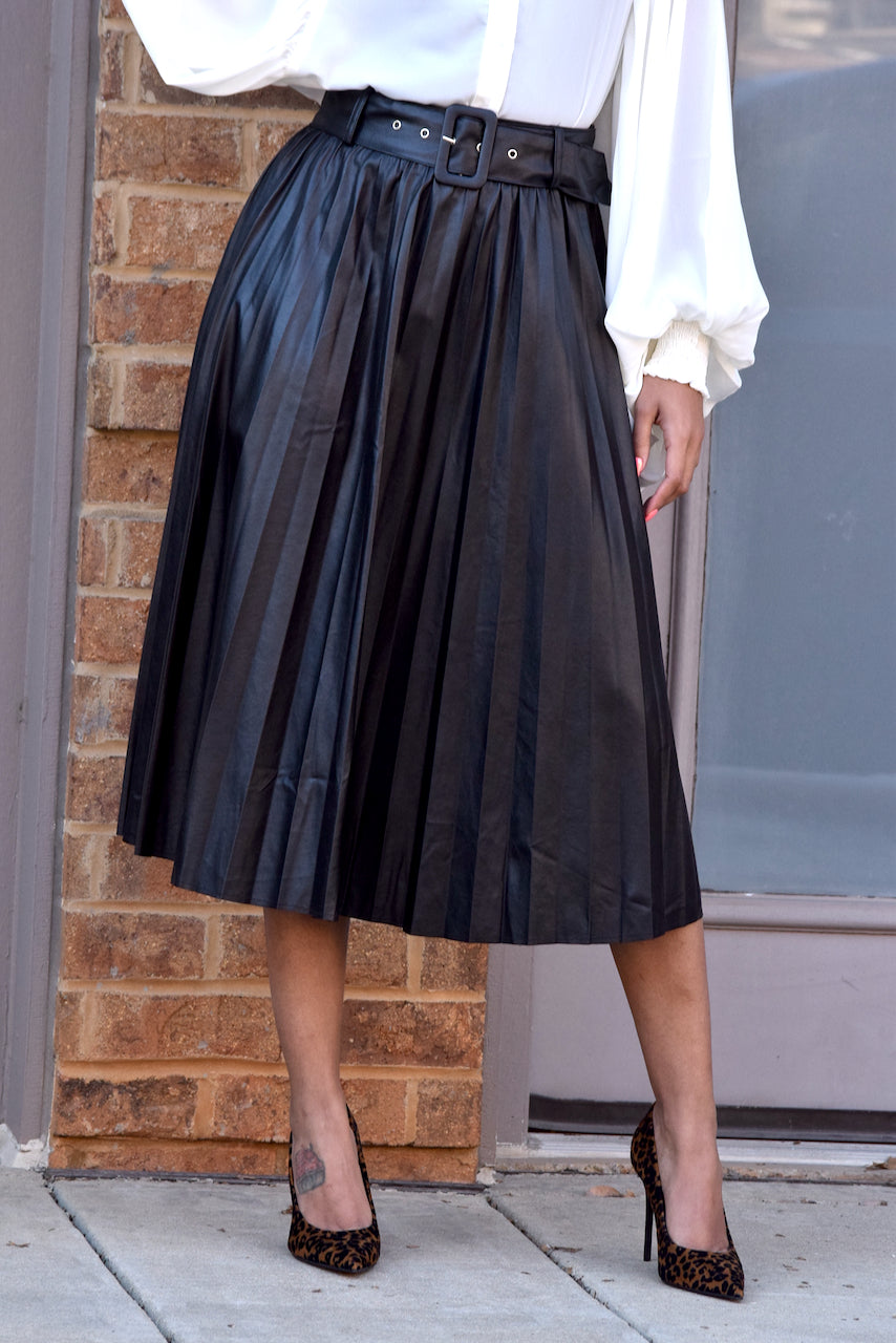 Faux Leather Belted Pleat Skirt