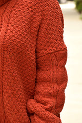 Orange Chenille Turtleneck Sweater