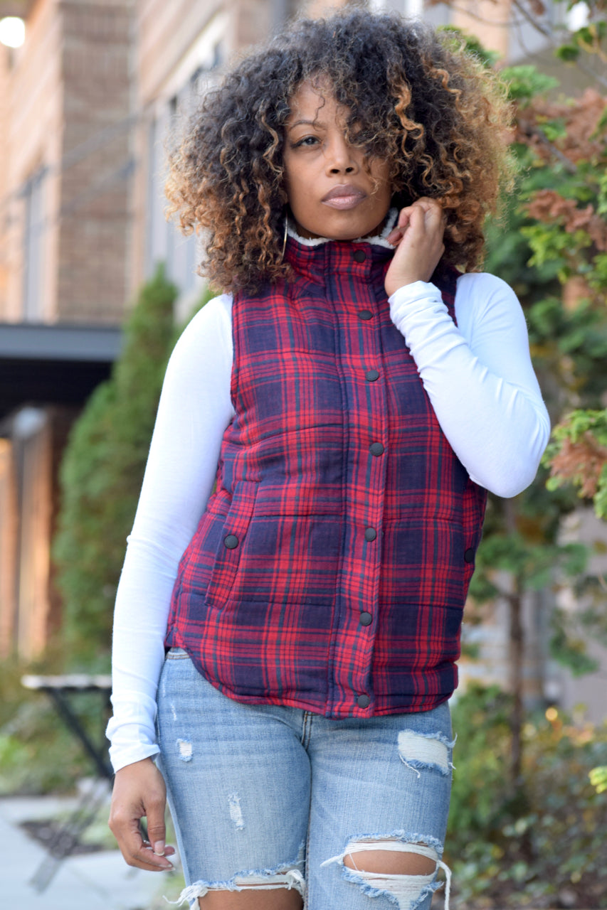 Plaid Fur Vest