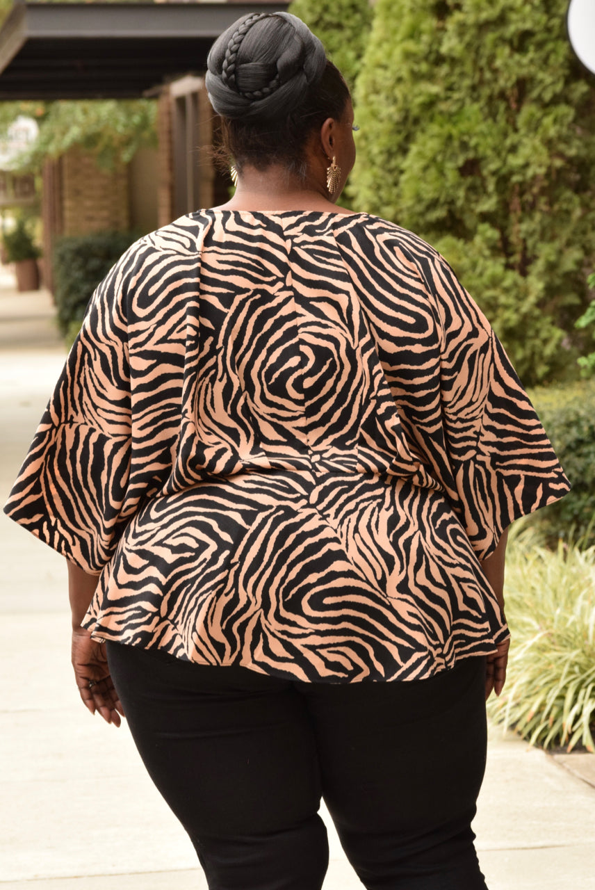 Plus Size Animal Print Stripe Kimono Top
