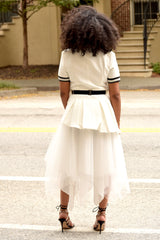 Belted Blazer and Tulle Skirt Set