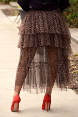 Leopard Tiered Tulle Skirt