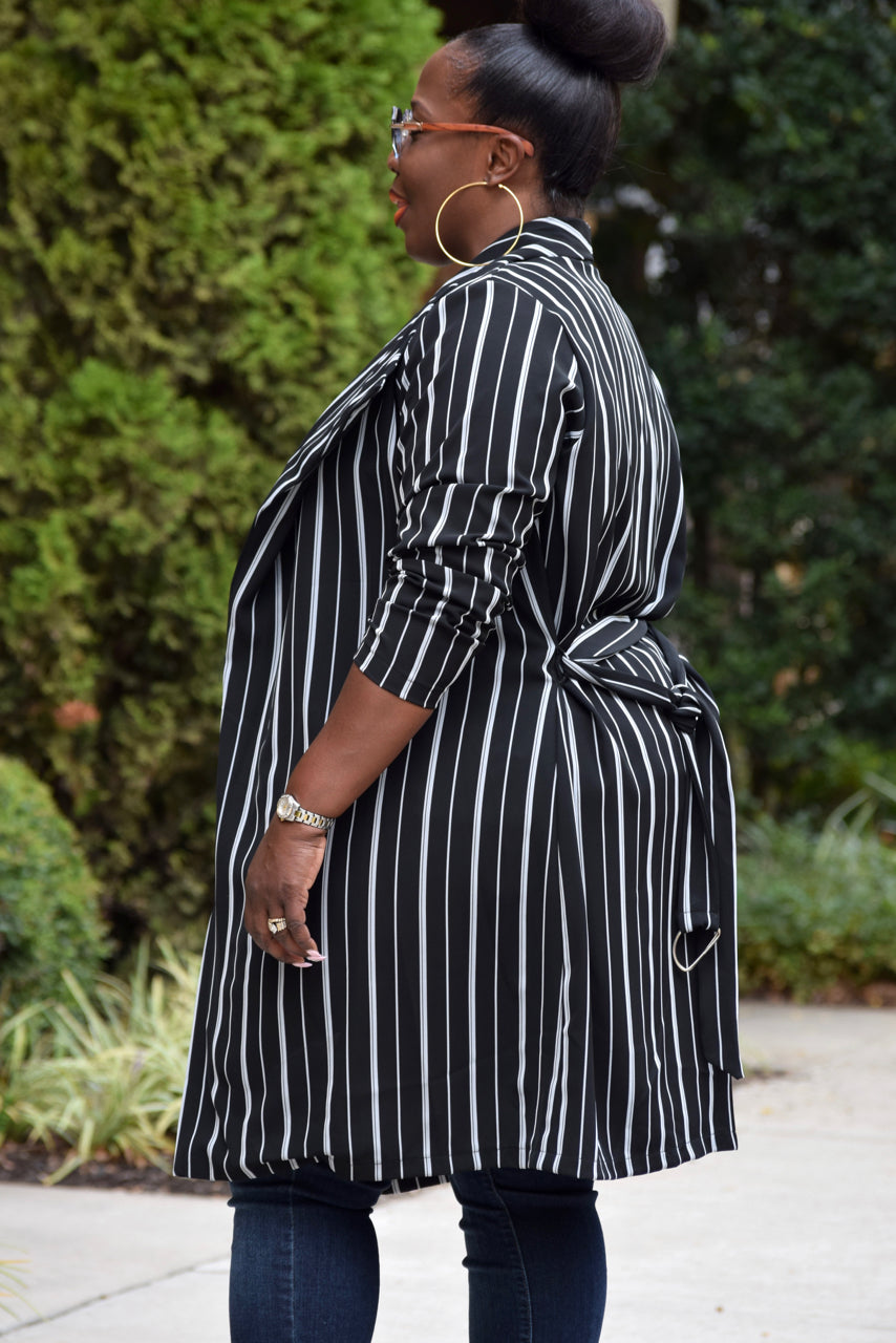 Curvy Stripe Belted Trench