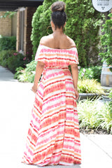 Tie Dye Stripe Off Shoulder Maxi- Pink Mix