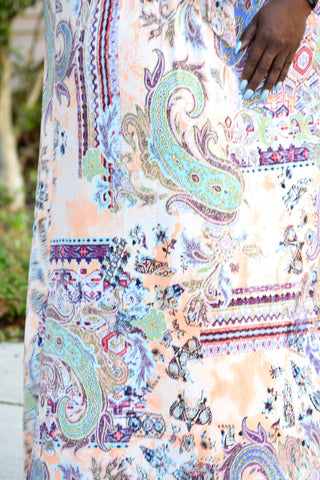 Curvy Print Wrap Maxi Dress