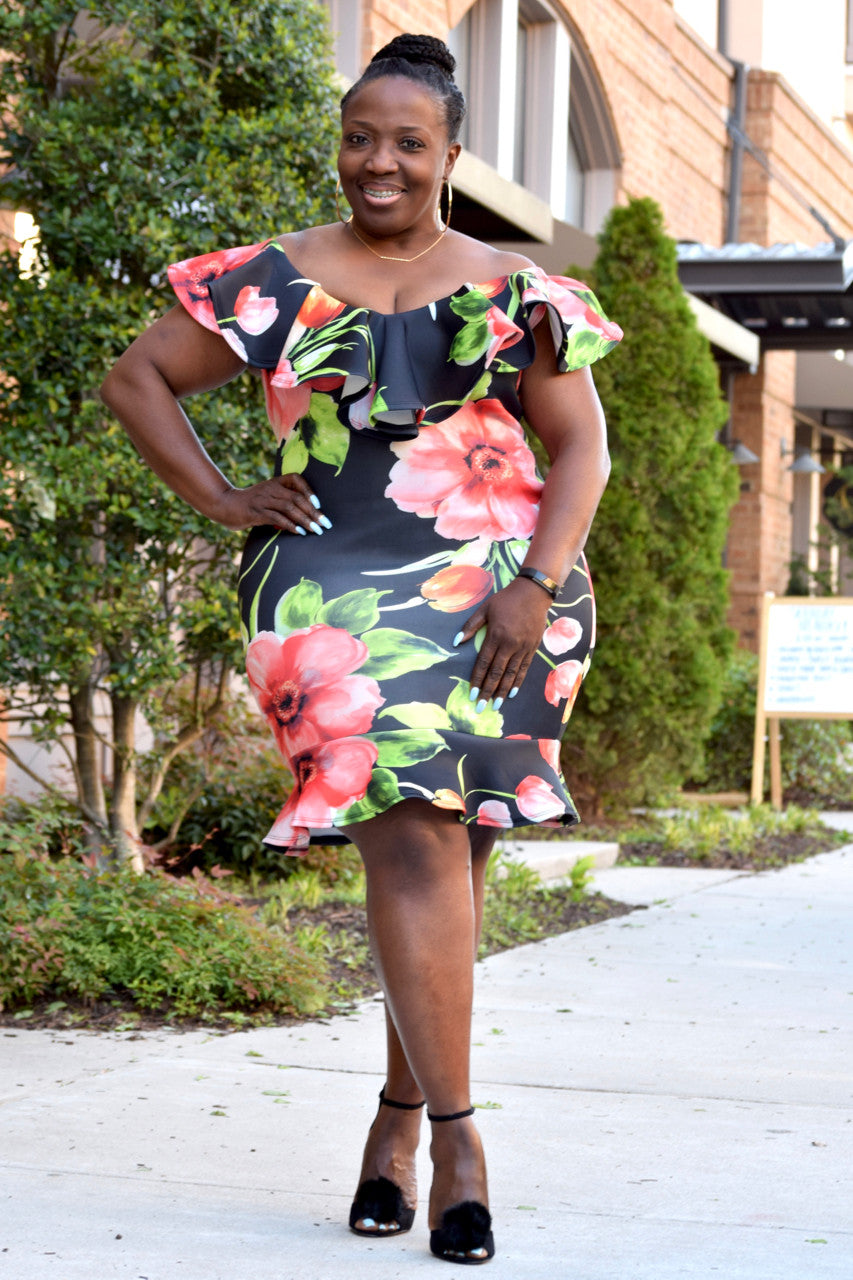 Curvy Floral Ruffle Fishtail Dress