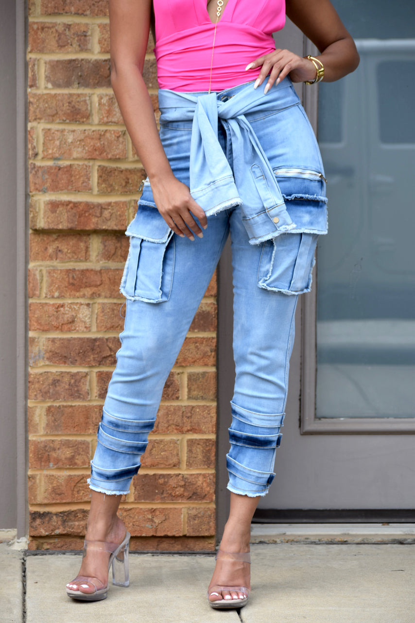 Faded Deconstructed Denim Pants
