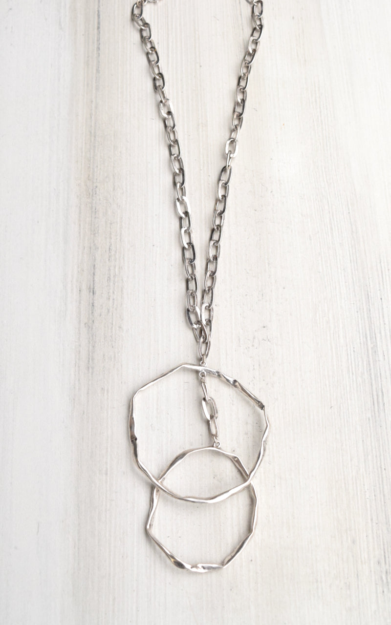 Hammered Double Circle Chain Necklace
