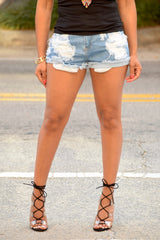 Distressed Light Washed Shorts