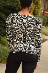 Tiger Print Puff Shoulder Top