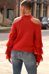 Red Cold Shoulder Sweater