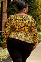Plus Size Animal Print Puff Shoulder Top