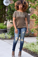 Strappy Back Tee- Olive