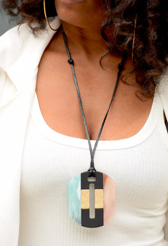 Acrylic Tricolor Cut Out Oval Necklace