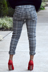 Plaid Crinkle Jogger