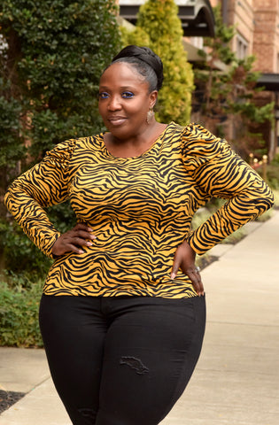 Curvy Tiger Print Puff Shoulder Top