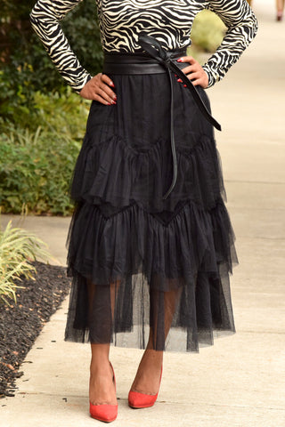 Tiered Tulle Midi Skirt