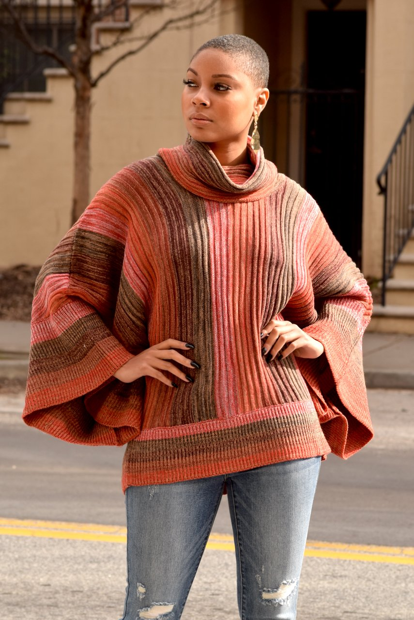 Striped Wide Sleeve Cowl Neck Sweater