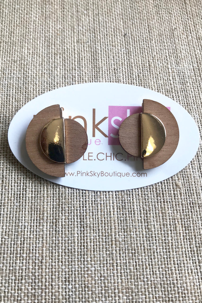 Half Moon Wood Post Earrings