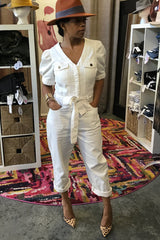 Puff Sleeve White Denim Jumpsuit
