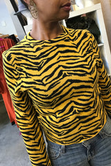 Tiger Print Fitted Sweater