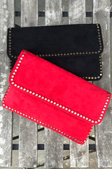 Faux Suede Stud Flap Clutch