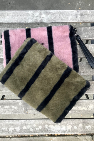 Stripe Fur Clutch
