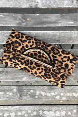 Faux Suede Leopard Fold Over Clutch