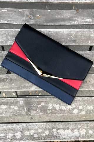 Tri-color Flap Envelope Clutch