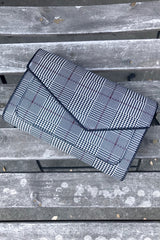 Houndstooth Plaid Clutch
