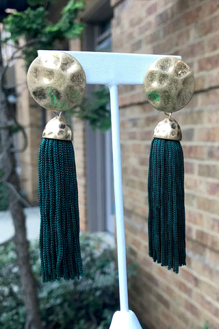 Hammered Circle Tassel Earrings -2 Colors